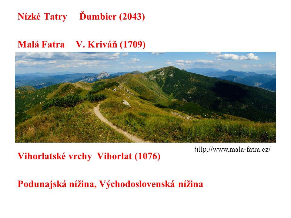 Nízké Tatry Ďumbier (2043) Malá FatraV. Kriváň (1709) Vihorlatské vrchy Vihorlat (1076) Podunajská nížina, Východoslovenská nížina http:// www.mala-fa