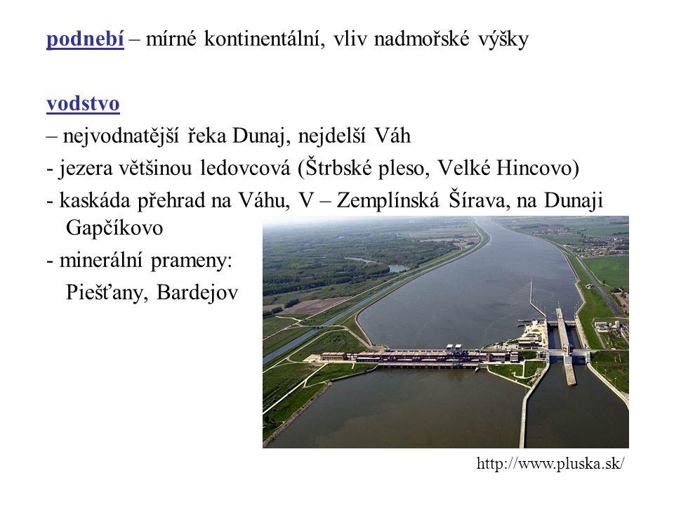 podnebí – mírné kontinentální, vliv nadmořské výšky vodstvo – nejvodnatější řeka Dunaj, nejdelší Váh - jezera většinou ledovcová (Štrbské pleso, Velké Hincovo) - kaskáda přehrad na Váhu, V – Zemplínská Šírava, na Dunaji Gapčíkovo - minerální prameny: Piešťany, Bardejov http://www.pluska.sk/