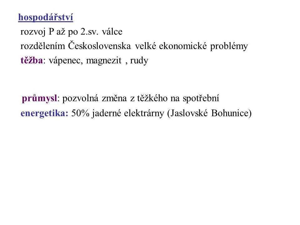 hospodářství rozvoj P až po 2.sv. válce rozdělením Československa velké ekonomické problémy těžba: vápenec, magnezit, rudy průmysl: pozvolná změna z t