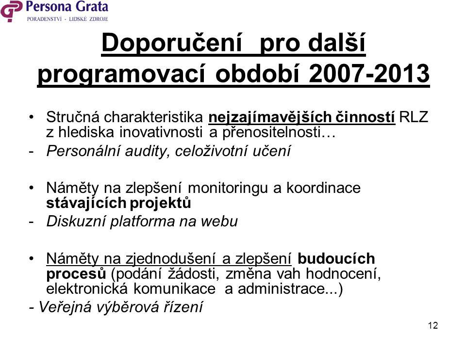 12 Doporučení pro další programovací období 2007-2013 Stručná charakteristika nejzajímavějších činností RLZ z hlediska inovativnosti a přenositelnosti