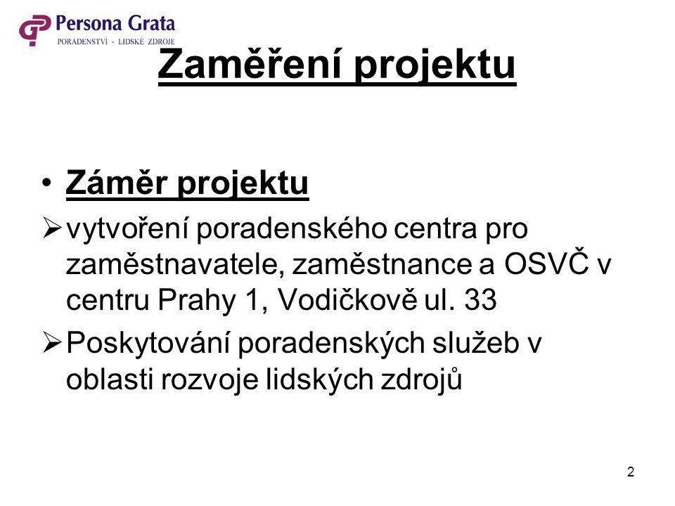 2 Zaměření projektu Záměr projektu  vytvoření poradenského centra pro zaměstnavatele, zaměstnance a OSVČ v centru Prahy 1, Vodičkově ul. 33  Poskyto