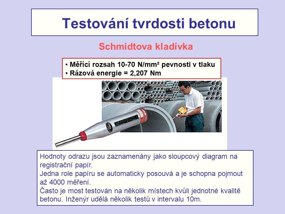 Testování tvrdosti betonu Měřící rozsah 10-70 N/mm² pevnosti v tlaku Rázová energie = 2,207 Nm Schmidtova kladívka Hodnoty odrazu jsou zaznamenány jak