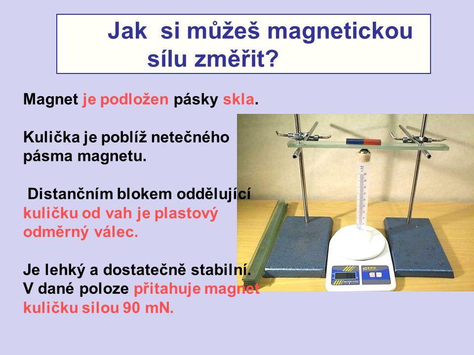 Jak si můžeš magnetickou sílu změřit? Magnet je podložen pásky skla. Kulička je poblíž netečného pásma magnetu. Distančním blokem oddělující kuličku o