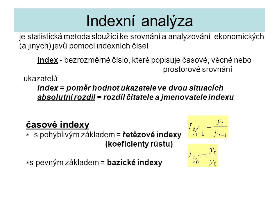 Indexní analýza index - bezrozměrné číslo, které popisuje časové, věcné nebo prostorové srovnání ukazatelů index = poměr hodnot ukazatele ve dvou situ