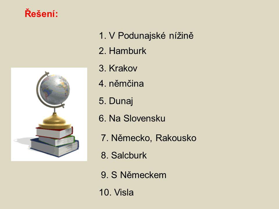 Řešení: 1.V Podunajské nížině 2. Hamburk 3. Krakov 4.