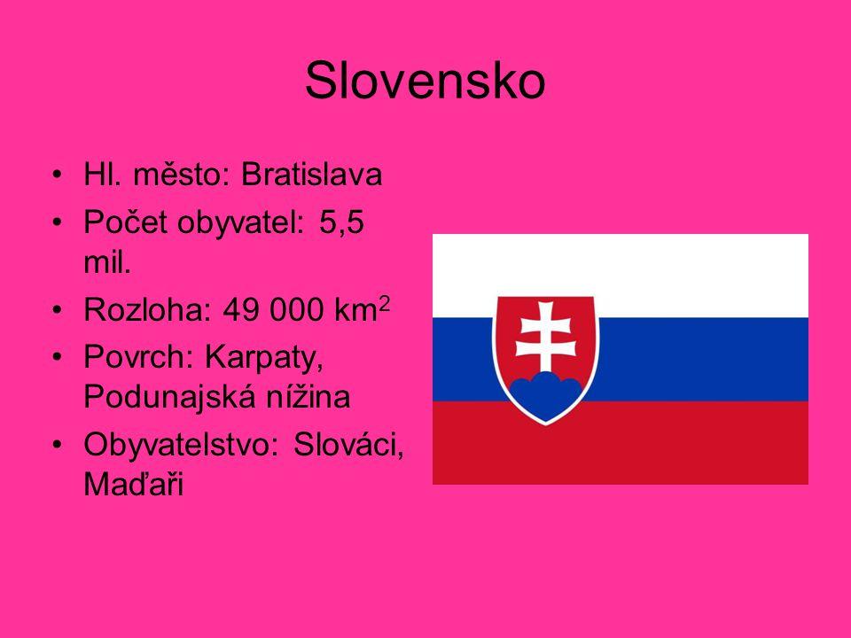 Slovensko Hl. město: Bratislava Počet obyvatel: 5,5 mil. Rozloha: 49 000 km 2 Povrch: Karpaty, Podunajská nížina Obyvatelstvo: Slováci, Maďaři