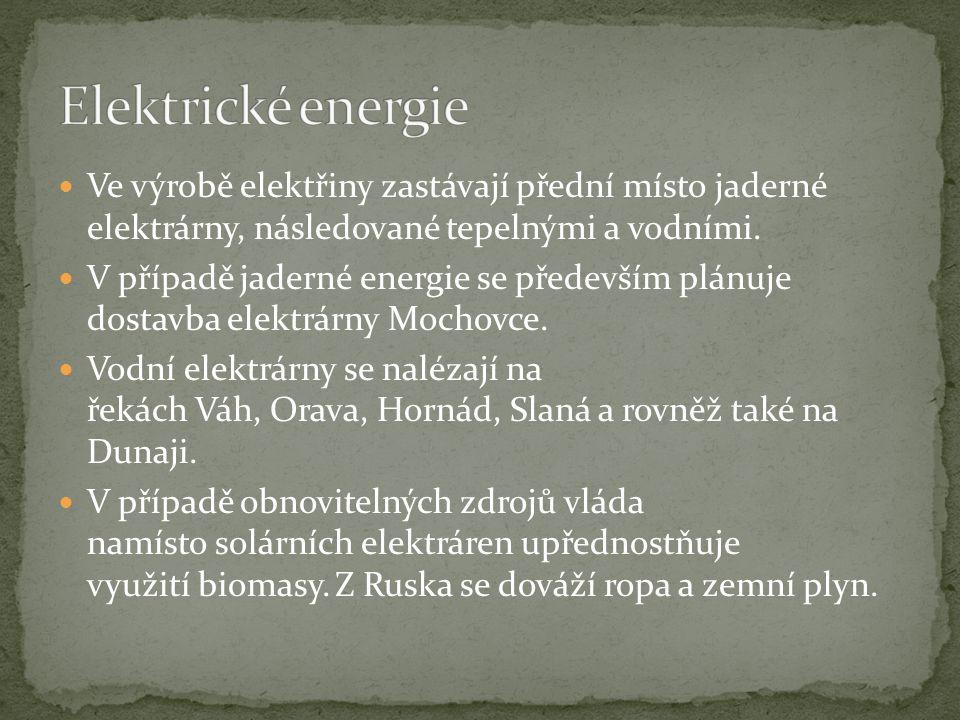 Ve výrobě elektřiny zastávají přední místo jaderné elektrárny, následované tepelnými a vodními.