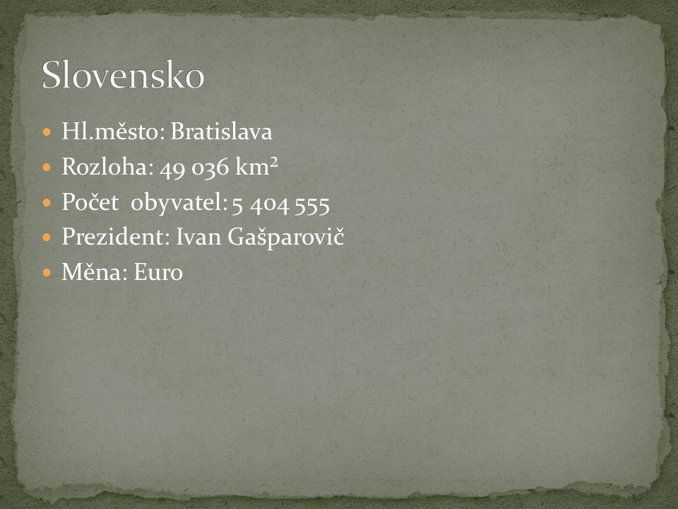 Hl.město: Bratislava Rozloha: 49 036 km² Počet obyvatel: 5 404 555 Prezident: Ivan Gašparovič Měna: Euro