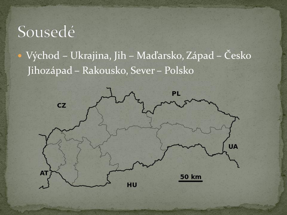 Východ – Ukrajina, Jih – Maďarsko, Západ – Česko Jihozápad – Rakousko, Sever – Polsko