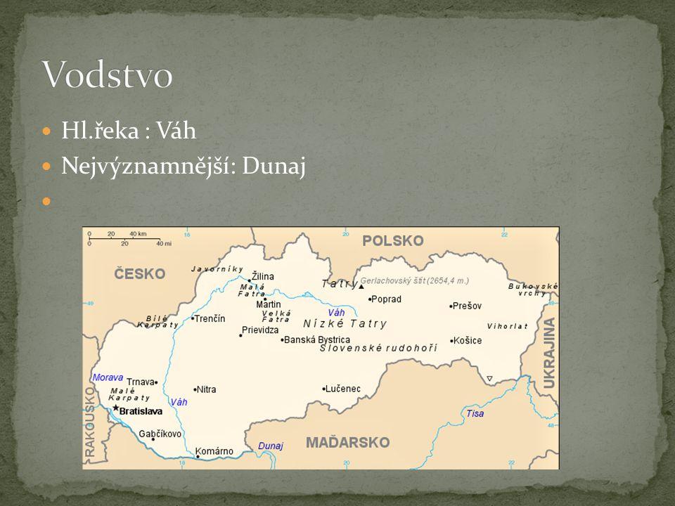 Hl.řeka : Váh Nejvýznamnější: Dunaj