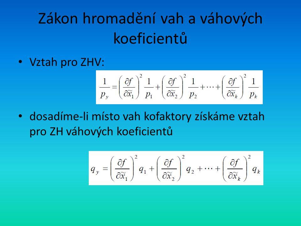Zákon hromadění vah a váhových koeficientů Vztah pro ZHV: dosadíme-li místo vah kofaktory získáme vztah pro ZH váhových koeficientů