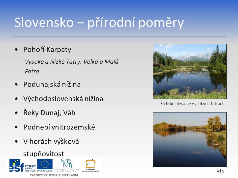 Slovensko – přírodní poměry Pohoří Karpaty Vysoké a Nízké Tatry, Velká a Malá Fatra Podunajská nížina Východoslovenská nížina Řeky Dunaj, Váh Podnebí
