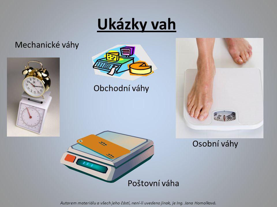Mechanické váhy Poštovní váha Osobní váhy Autorem materiálu a všech jeho částí, není-li uvedeno jinak, je Ing. Jana Homolková. Obchodní váhy Ukázky va