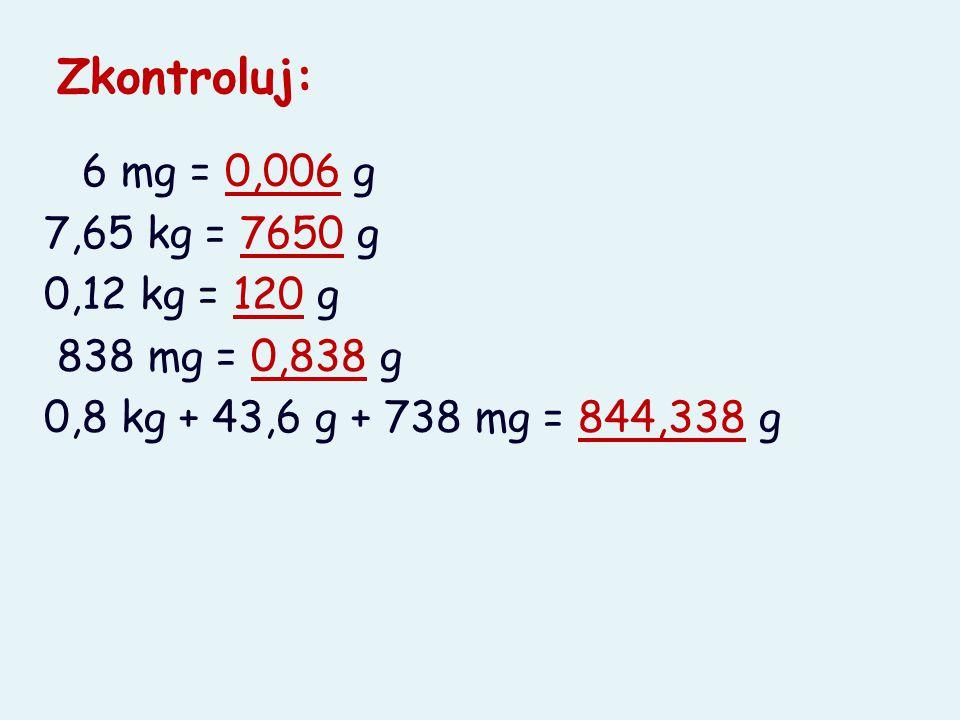 Zkontroluj: 6 mg = 0,006 g 7,65 kg = 7650 g 0,12 kg = 120 g 838 mg = 0,838 g 0,8 kg + 43,6 g + 738 mg = 844,338 g