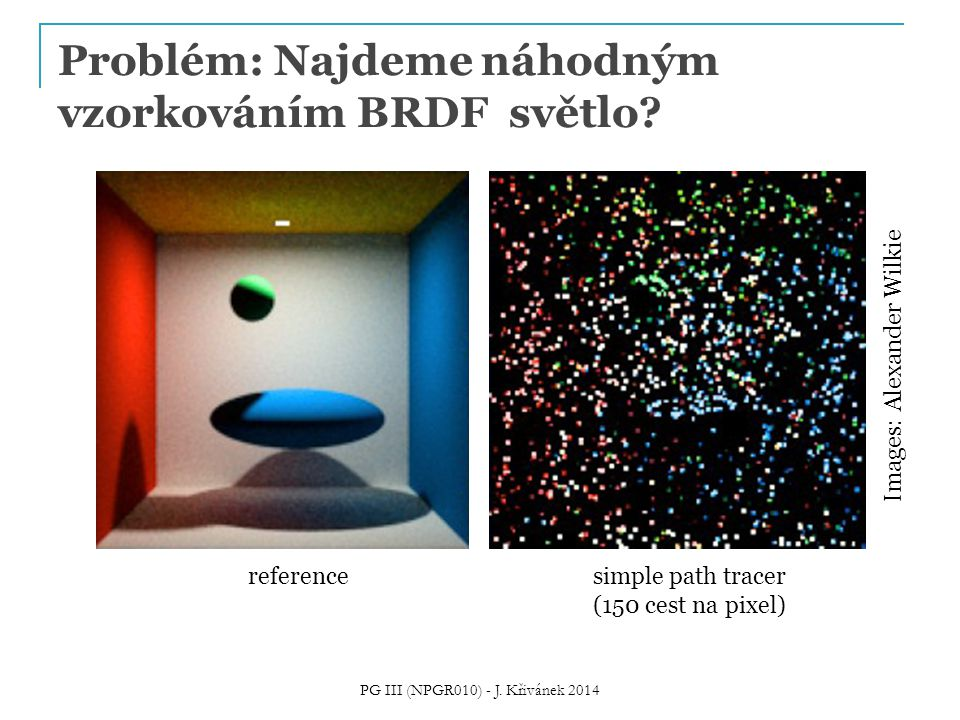 Problém: Najdeme náhodným vzorkováním BRDF světlo? PG III (NPGR010) - J. Křivánek 2014 referencesimple path tracer (150 cest na pixel) Images: Alexand