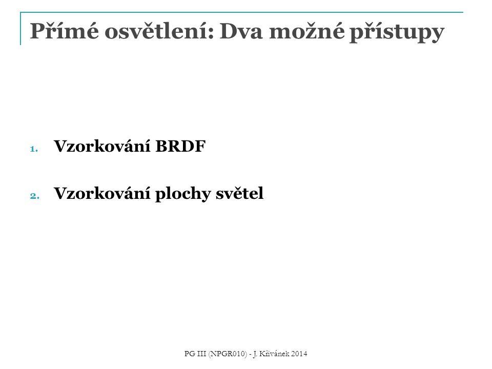 Přímé osvětlení: Dva možné přístupy 1. Vzorkování BRDF 2. Vzorkování plochy světel PG III (NPGR010) - J. Křivánek 2014
