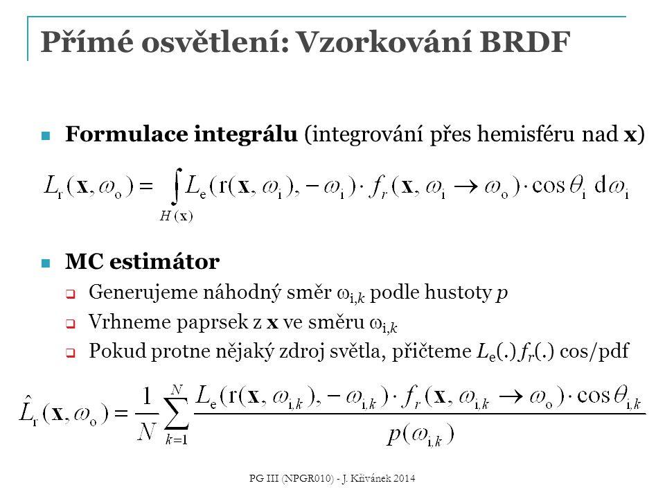 Přímé osvětlení: Vzorkování BRDF Formulace integrálu (integrování přes hemisféru nad x) MC estimátor  Generujeme náhodný směr  i,k podle hustoty p  Vrhneme paprsek z x ve směru  i,k  Pokud protne nějaký zdroj světla, přičteme L e (.) f r (.) cos/pdf PG III (NPGR010) - J.
