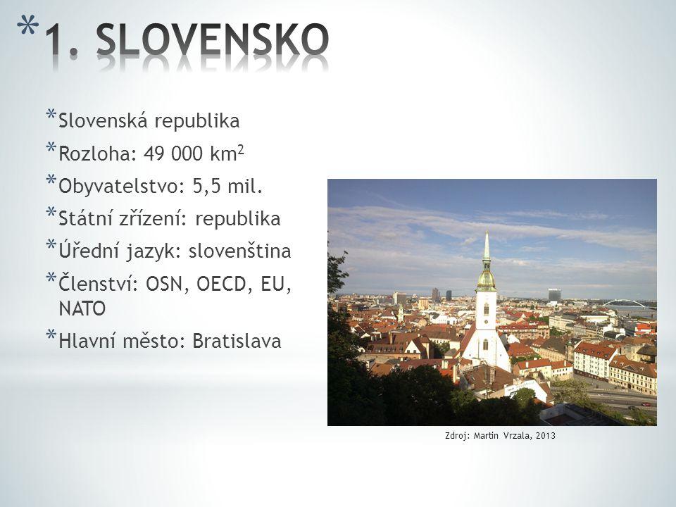 * Slovenská republika * Rozloha: 49 000 km 2 * Obyvatelstvo: 5,5 mil. * Státní zřízení: republika * Úřední jazyk: slovenština * Členství: OSN, OECD, E