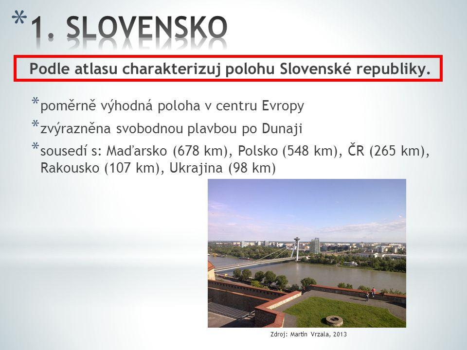 * poměrně výhodná poloha v centru Evropy * zvýrazněna svobodnou plavbou po Dunaji * sousedí s: Maďarsko (678 km), Polsko (548 km), ČR (265 km), Rakous