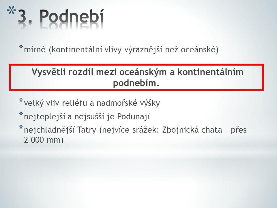 * mírné (kontinentální vlivy výraznější než oceánské) * velký vliv reliéfu a nadmořské výšky * nejteplejší a nejsušší je Podunají * nejchladnější Tatr