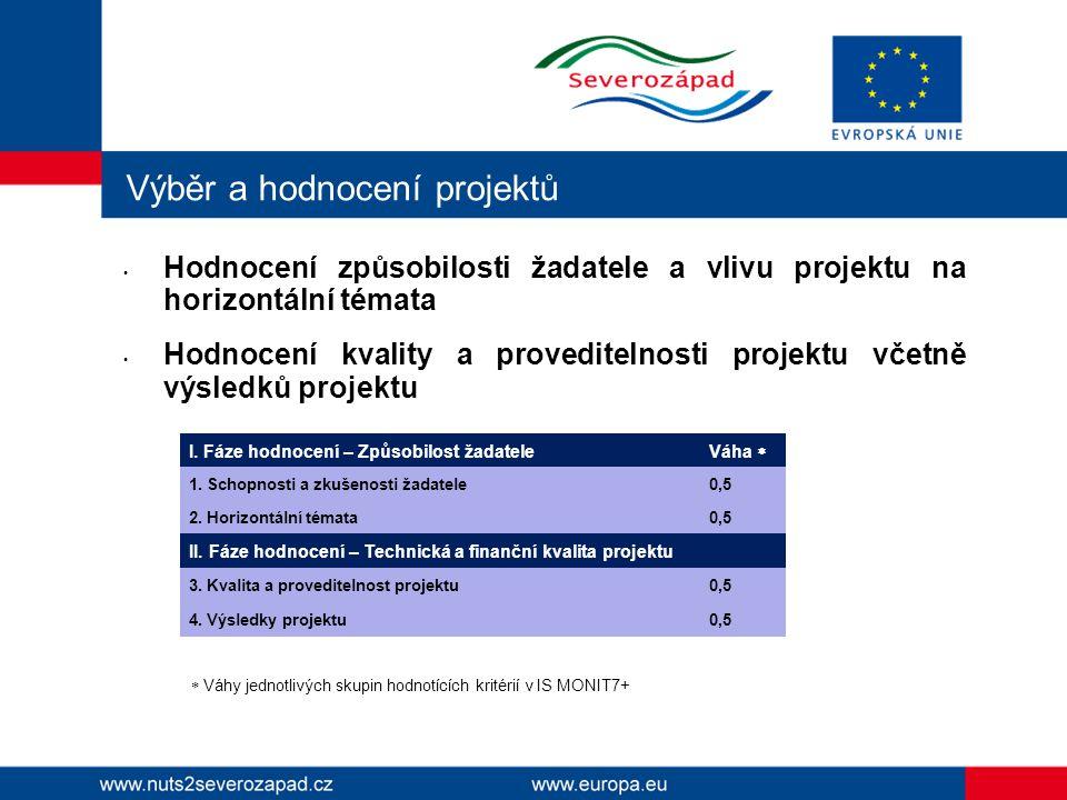 Výběr a hodnocení projektů Hodnocení způsobilosti žadatele a vlivu projektu na horizontální témata Hodnocení kvality a proveditelnosti projektu včetně výsledků projektu I.