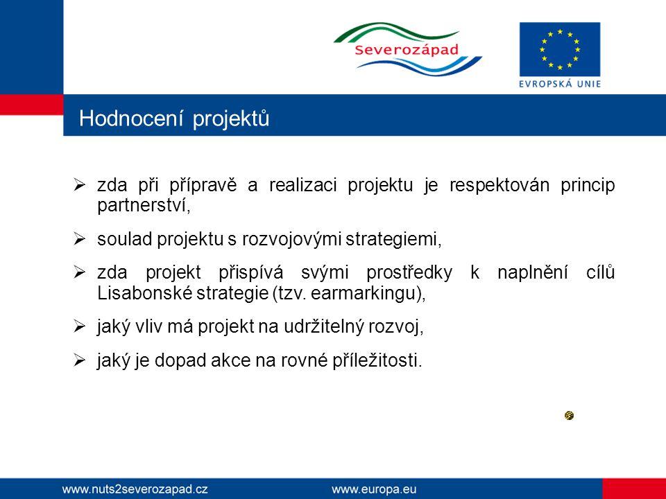 Hodnocení projektů  zda při přípravě a realizaci projektu je respektován princip partnerství,  soulad projektu s rozvojovými strategiemi,  zda projekt přispívá svými prostředky k naplnění cílů Lisabonské strategie (tzv.