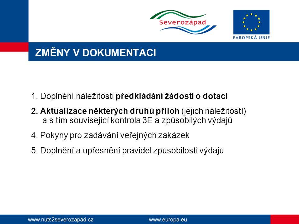 ZMĚNY V DOKUMENTACI 1.Doplnění náležitostí předkládání žádosti o dotaci 2.