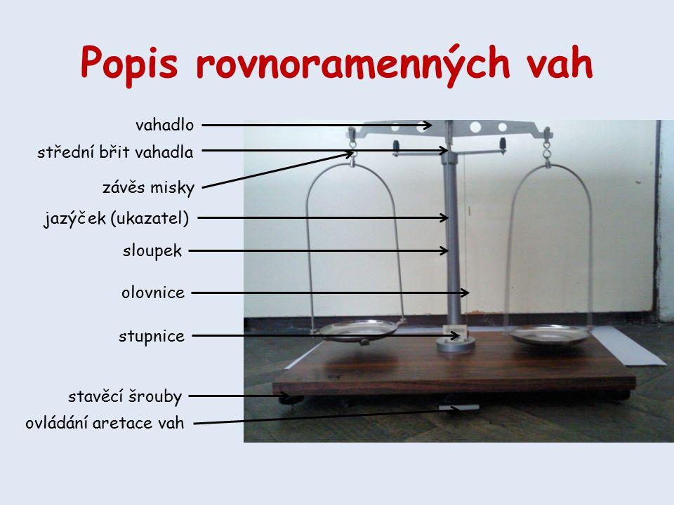 Popis rovnoramenných vah vahadlo závěs misky střední břit vahadla jazýček (ukazatel) sloupek olovnice stupnice ovládání aretace vah stavěcí šrouby
