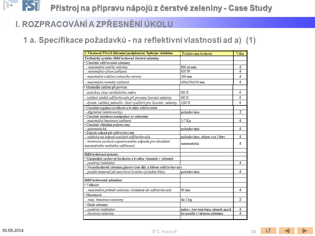 Požadovaná hodnota:Váha: 1. Vlastnosti TS(s) k (hlavním i podpůrným) funkcím / účinkům: 15  © S. Hosnedl 30.09.2014 Přístroj na přípravu nápojů z čer