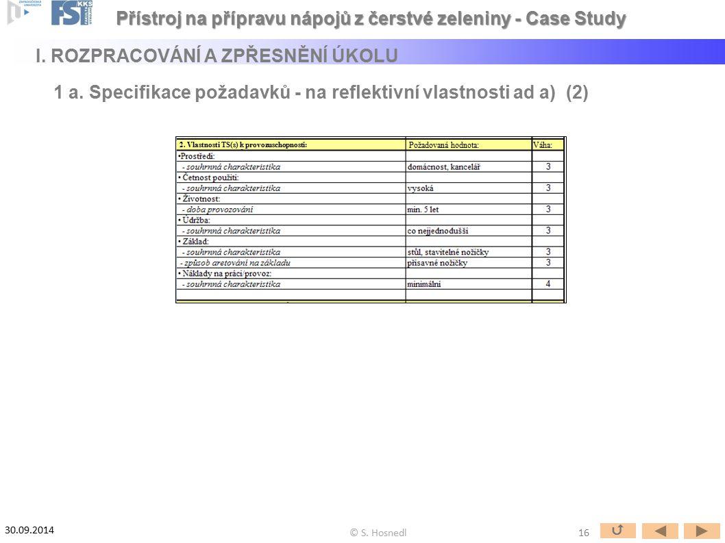 Požadovaná hodnota:Váha: 2. Vlastnosti TS(s) k provozuschopnosti: 16  © S. Hosnedl 30.09.2014 Přístroj na přípravu nápojů z čerstvé zeleniny - Case S