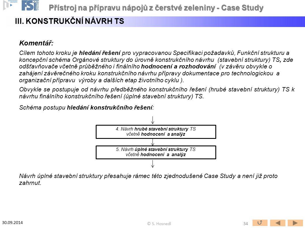 Komentář: Cílem tohoto kroku je hledání řešení pro vypracovanou Specifikaci požadavků, Funkční strukturu a koncepční schéma Orgánové struktury do úrov
