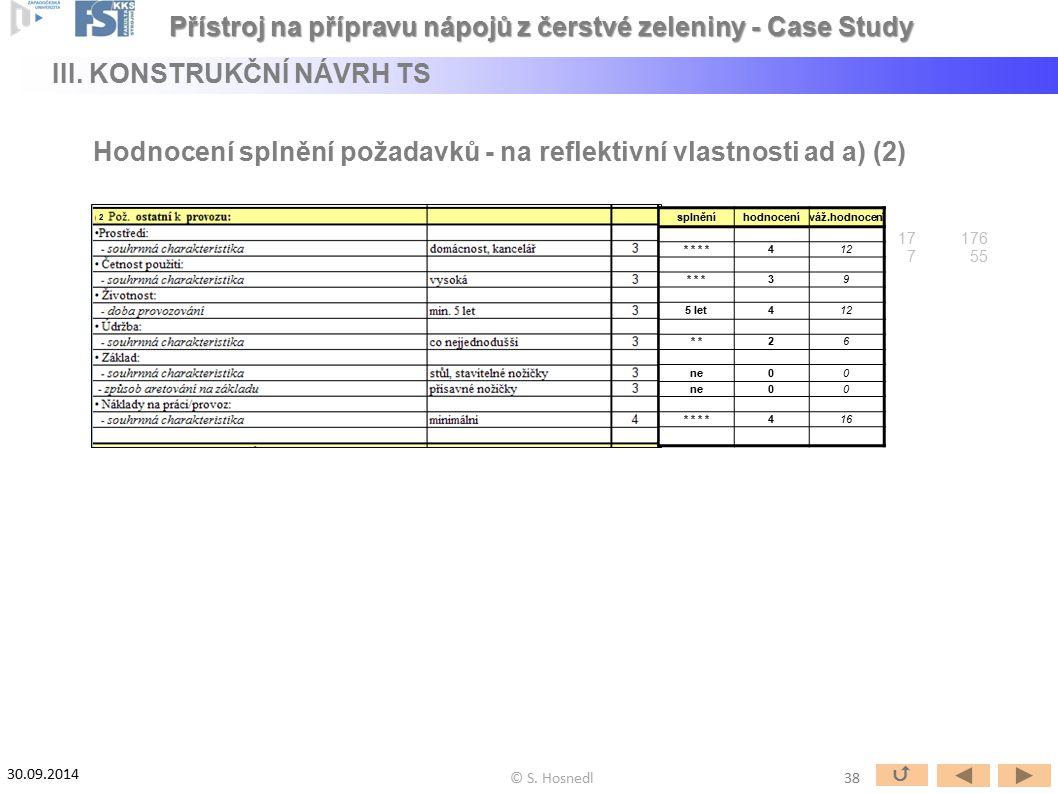Hodnocení splnění požadavků - na reflektivní vlastnosti ad a) (2) 2 splněníhodnoceníváž.hodnocení * * 412 * * *39 5 let412 * 26 ne00 00 * * 416 17 176