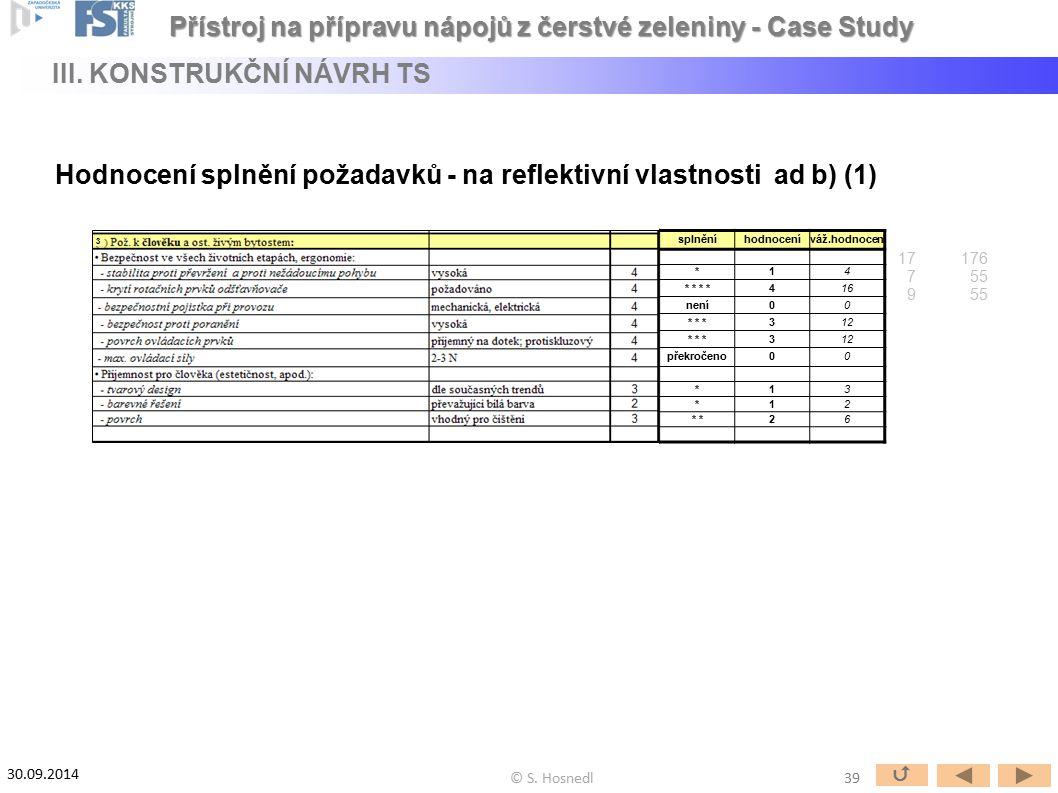 Hodnocení splnění požadavků - na reflektivní vlastnosti ad b) (1) 3 splněníhodnoceníváž.hodnocení *14 * * 416 není00 * * *312 * * *312 překročeno00 *1