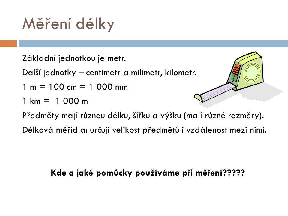 Měření délky Základní jednotkou je metr. Další jednotky – centimetr a milimetr, kilometr.