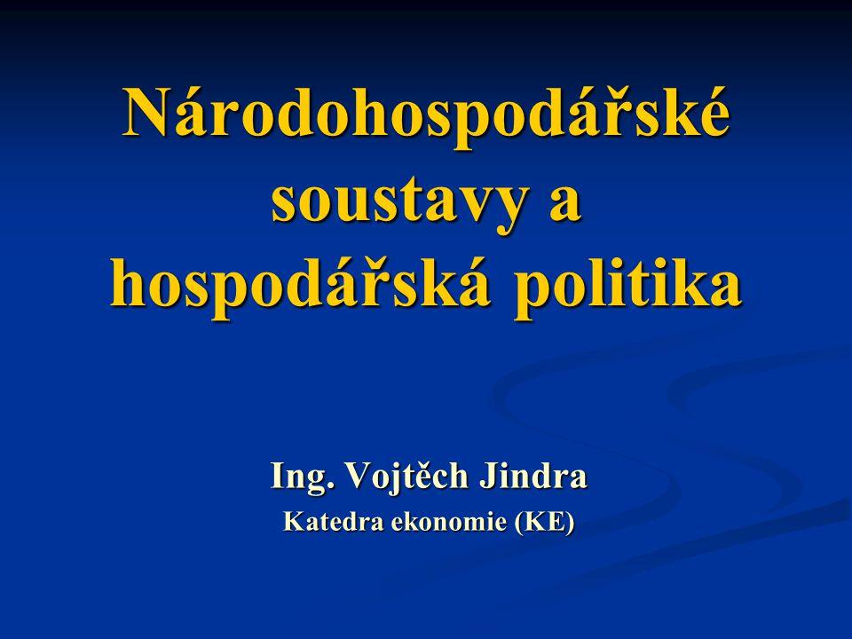 Národohospodářské soustavy a hospodářská politika Ing. Vojtěch Jindra Katedra ekonomie (KE)