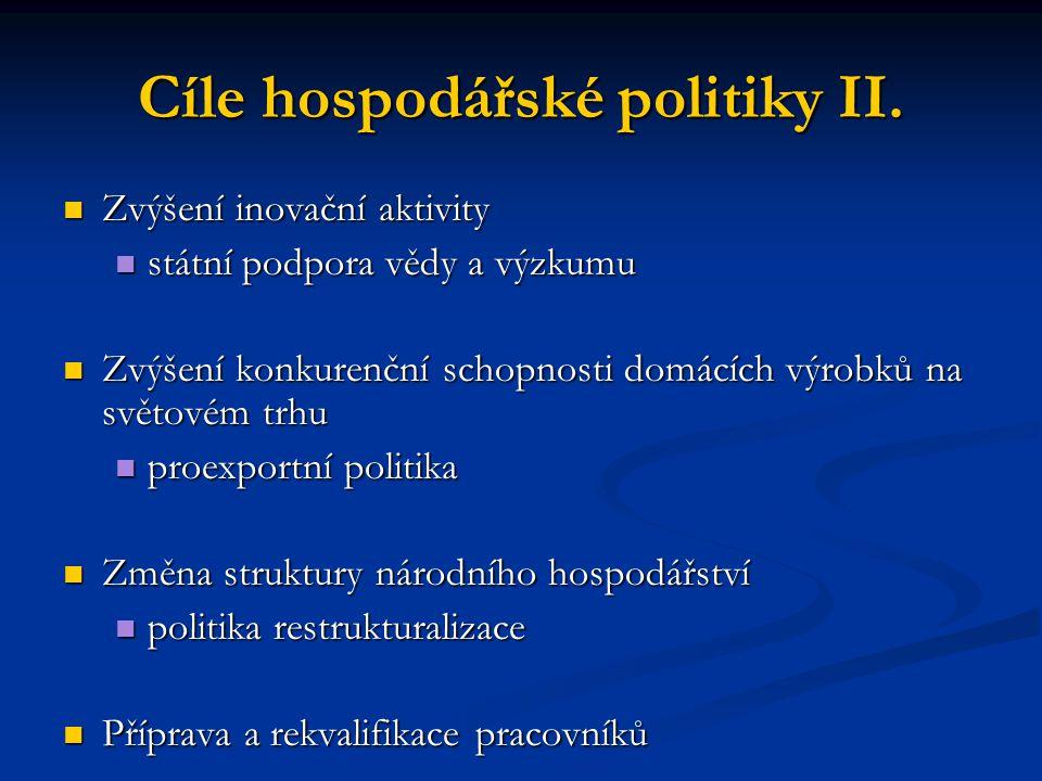 Cíle hospodářské politiky II.