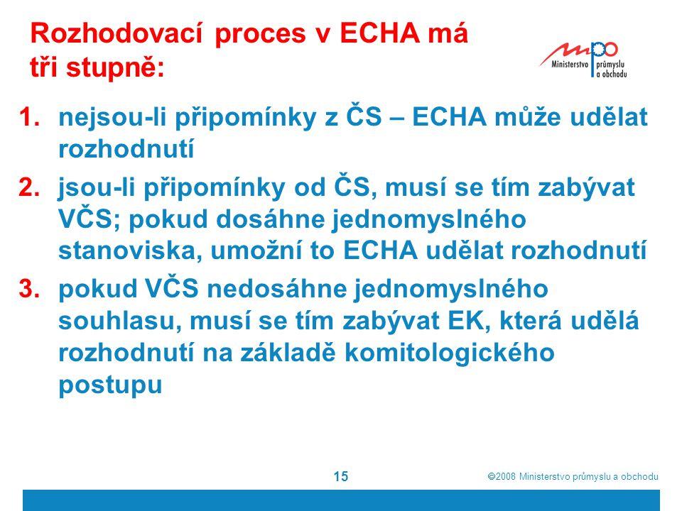  2008  Ministerstvo průmyslu a obchodu 15 Rozhodovací proces v ECHA má tři stupně: 1.nejsou-li připomínky z ČS – ECHA může udělat rozhodnutí 2.jsou