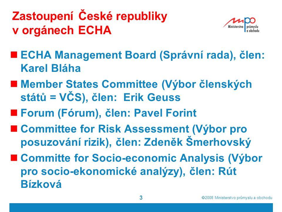 2008  Ministerstvo průmyslu a obchodu 3 Zastoupení České republiky v orgánech ECHA ECHA Management Board (Správní rada), člen: Karel Bláha Member