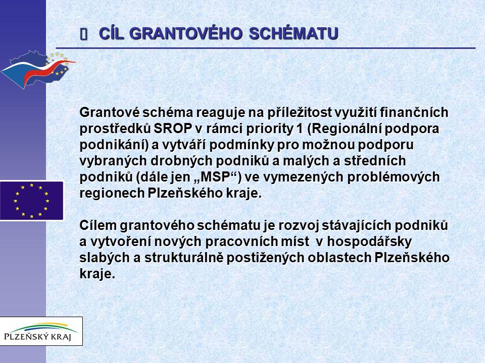 """ CÍL GRANTOVÉHO SCHÉMATU Grantové schéma reaguje na příležitost využití finančních prostředků SROP v rámci priority 1 (Regionální podpora podnikání) a vytváří podmínky pro možnou podporu vybraných drobných podniků a malých a středních podniků (dále jen """"MSP ) ve vymezených problémových regionech Plzeňského kraje."""