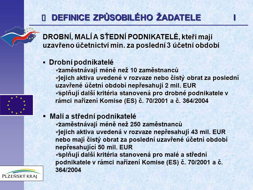  DEFINICE ZPŮSOBILÉHO ŽADATELE I DROBNÍ, MALÍ A SŤEDNÍ PODNIKATELÉ, kteří mají uzavřeno účetnictví min. za poslední 3 účetní období  Drobní podnikat