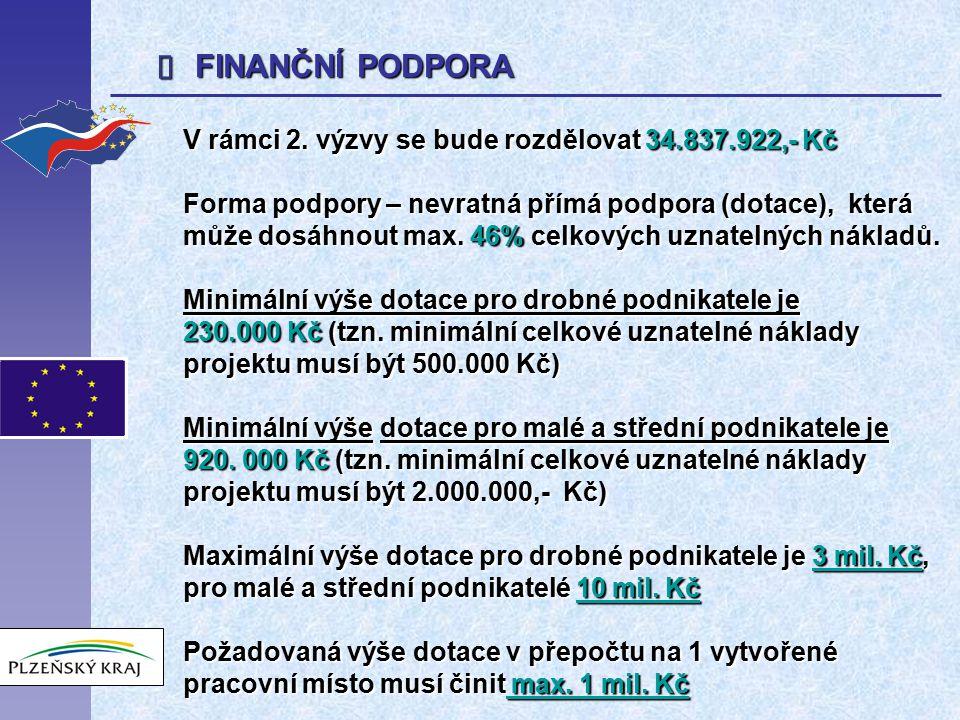  FINANČNÍ PODPORA V rámci 2. výzvy se bude rozdělovat 34.837.922,- Kč Forma podpory – nevratná přímá podpora (dotace), která může dosáhnout max. 46%