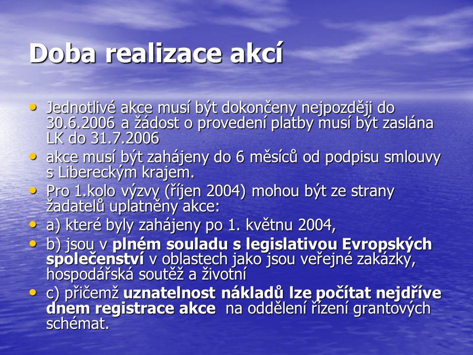 Doba realizace akcí Jednotlivé akce musí být dokončeny nejpozději do 30.6.2006 a žádost o provedení platby musí být zaslána LK do 31.7.2006 Jednotlivé akce musí být dokončeny nejpozději do 30.6.2006 a žádost o provedení platby musí být zaslána LK do 31.7.2006 akce musí být zahájeny do 6 měsíců od podpisu smlouvy s Libereckým krajem.