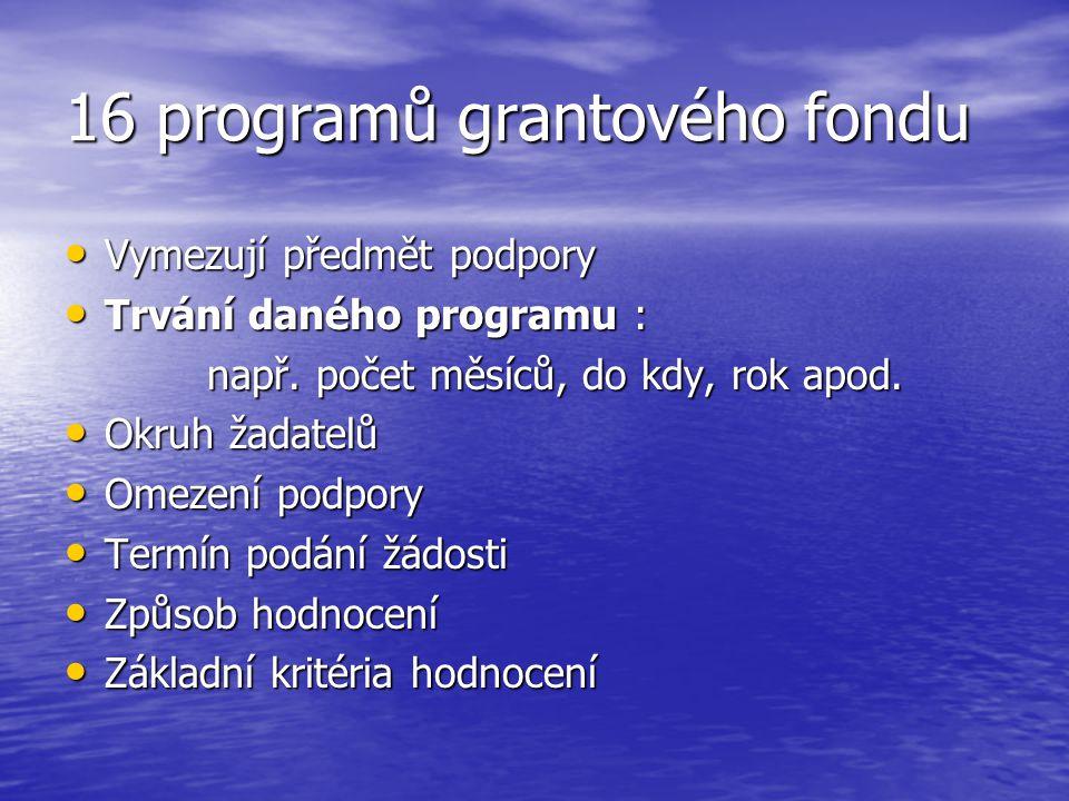 16 programů grantového fondu Vymezují předmět podpory Vymezují předmět podpory Trvání daného programu : Trvání daného programu : např.
