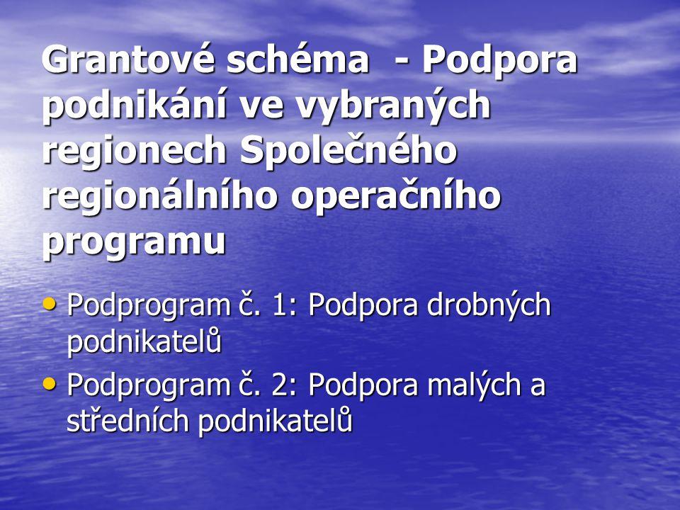 Grantové schéma - Podpora podnikání ve vybraných regionech Společného regionálního operačního programu Podprogram č.