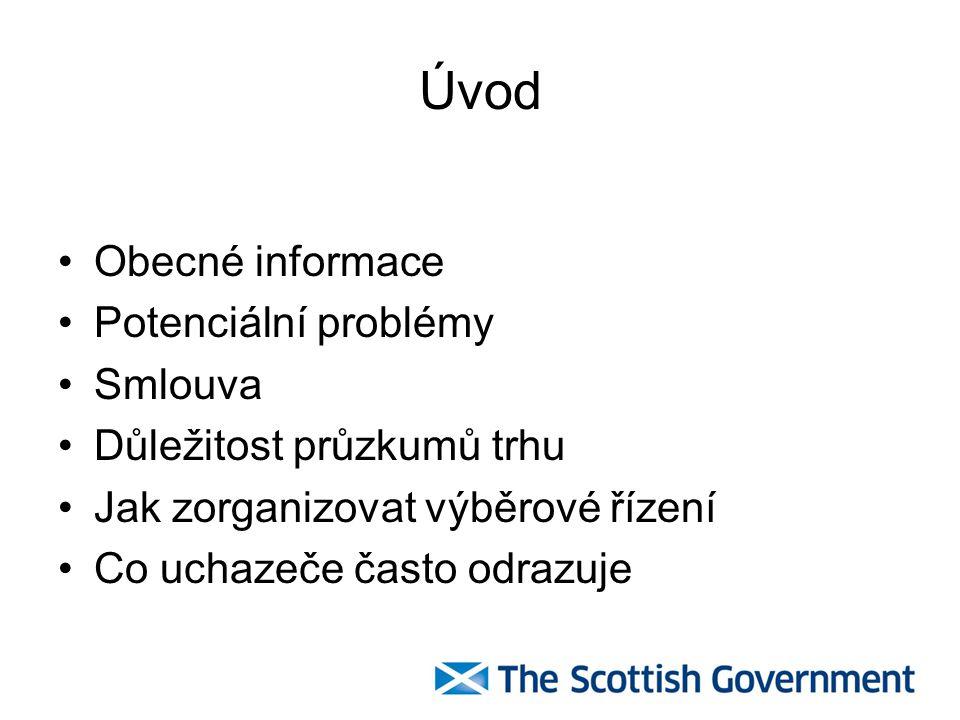 Úvod Obecné informace Potenciální problémy Smlouva Důležitost průzkumů trhu Jak zorganizovat výběrové řízení Co uchazeče často odrazuje
