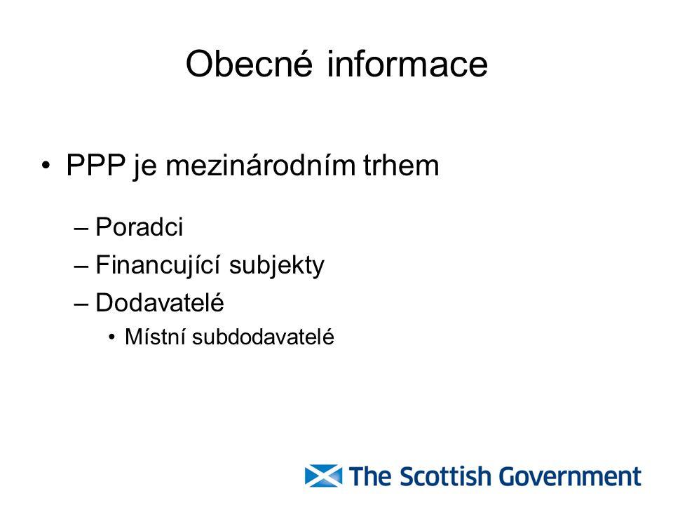 Obecné informace PPP je mezinárodním trhem –Poradci –Financující subjekty –Dodavatelé Místní subdodavatelé