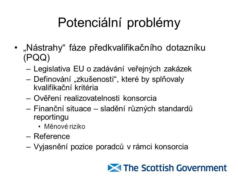"""Potenciální problémy """"Nástrahy fáze předkvalifikačního dotazníku (PQQ) –Legislativa EU o zadávání veřejných zakázek –Definování """"zkušeností , které by splňovaly kvalifikační kritéria –Ověření realizovatelnosti konsorcia –Finanční situace – sladění různých standardů reportingu Měnové riziko –Reference –Vyjasnění pozice poradců v rámci konsorcia"""