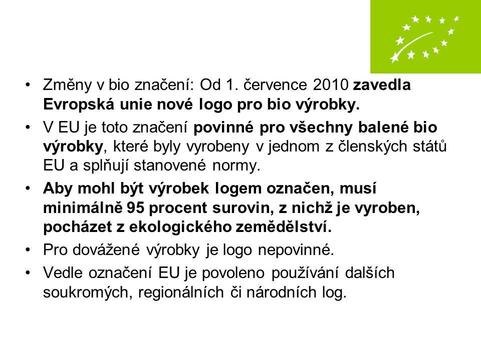 Změny v bio značení: Od 1. července 2010 zavedla Evropská unie nové logo pro bio výrobky. V EU je toto značení povinné pro všechny balené bio výrobky,