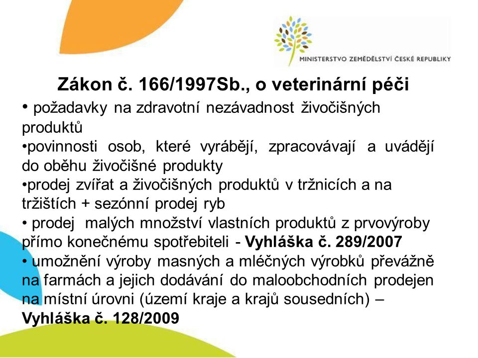 Zákon č. 166/1997Sb., o veterinární péči požadavky na zdravotní nezávadnost živočišných produktů povinnosti osob, které vyrábějí, zpracovávají a uvádě