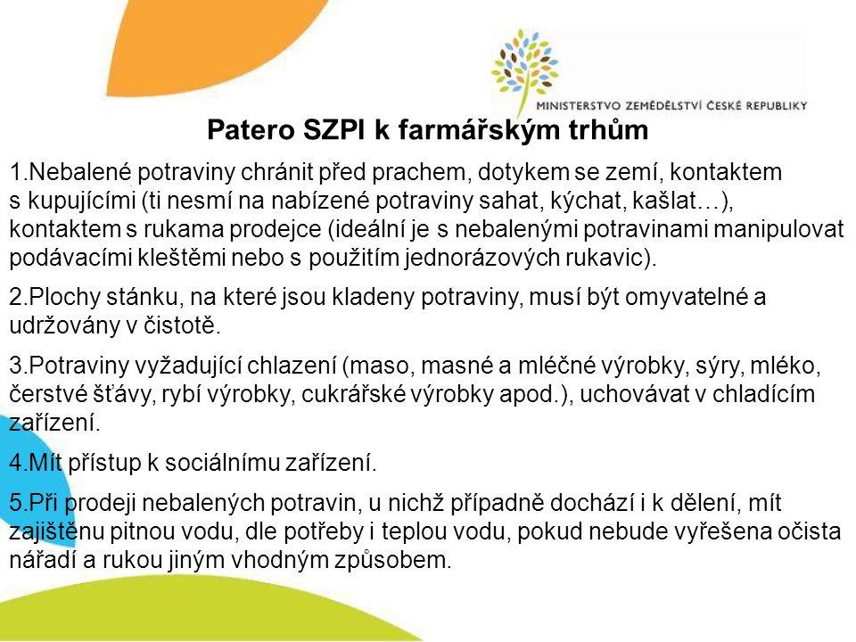 Patero SZPI k farmářským trhům 1.Nebalené potraviny chránit před prachem, dotykem se zemí, kontaktem s kupujícími (ti nesmí na nabízené potraviny saha